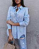 Женская стильная  рубашка из натурального котона белая голубая 42-44, 46-48, фото 3
