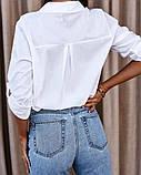 Женская стильная  рубашка из натурального котона белая голубая 42-44, 46-48, фото 5