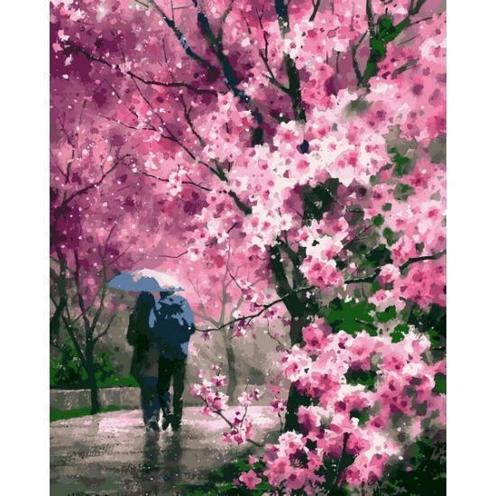 Картина рисование по номерам Babylon Сакура под дождем 40х50см VP1170 набор для росписи, краски, кисти, холст