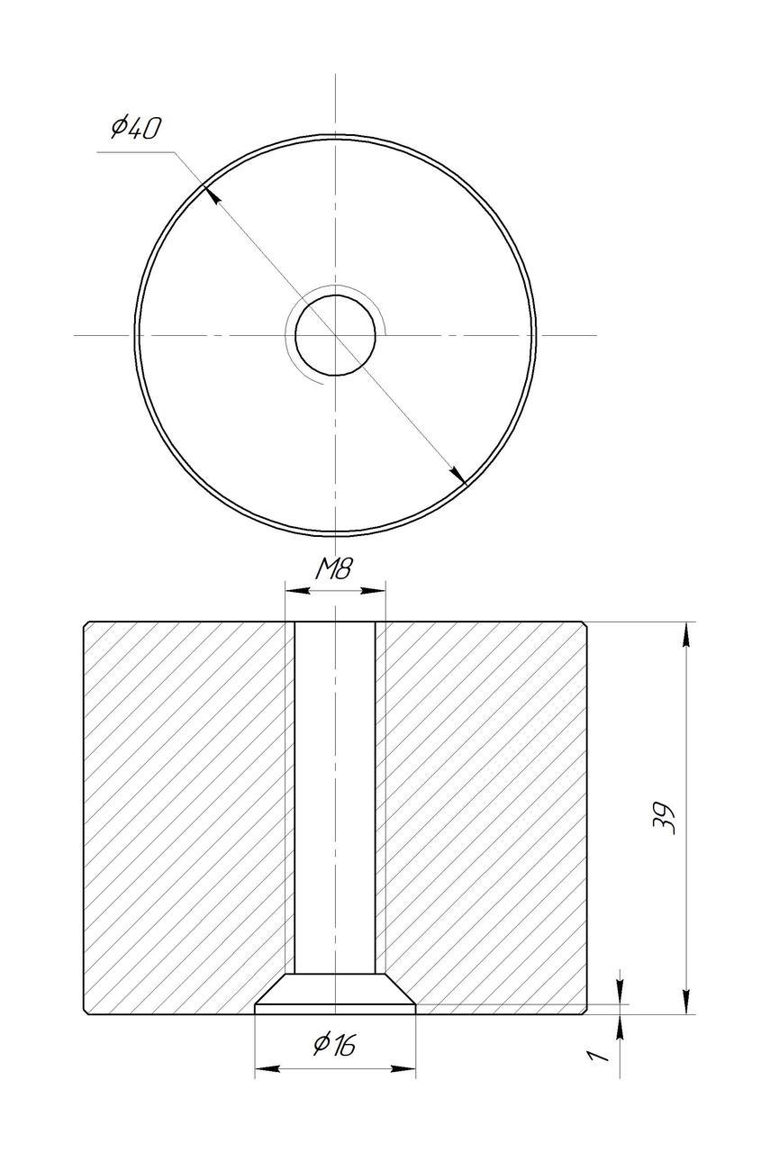 ODF-06-25-02-L40 Дистанция 40 мм для коннектора диаметром 40 мм и с резьбой М8, полированный