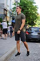 Летний мужской комплект - хаки футболка и темно-серые шорты (антрацит)