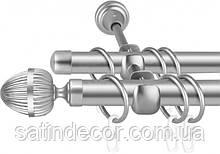 Карниз для штор металлический ОДЕОН двойной 16+16мм 2.0м Сатин никель