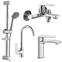 KAMPA 2 набор смесителей (4 в 1) для ванны и кухни (05285+10285+55285+R670SD+1115+W100SL1C)