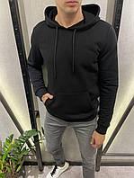 Мужской худи черный с капюшоном демисезонный двунитка Турция