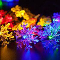 Світлодіодна гірлянда Сніжинки 1длина 4,5 метрів, 28 ламп., кольорова