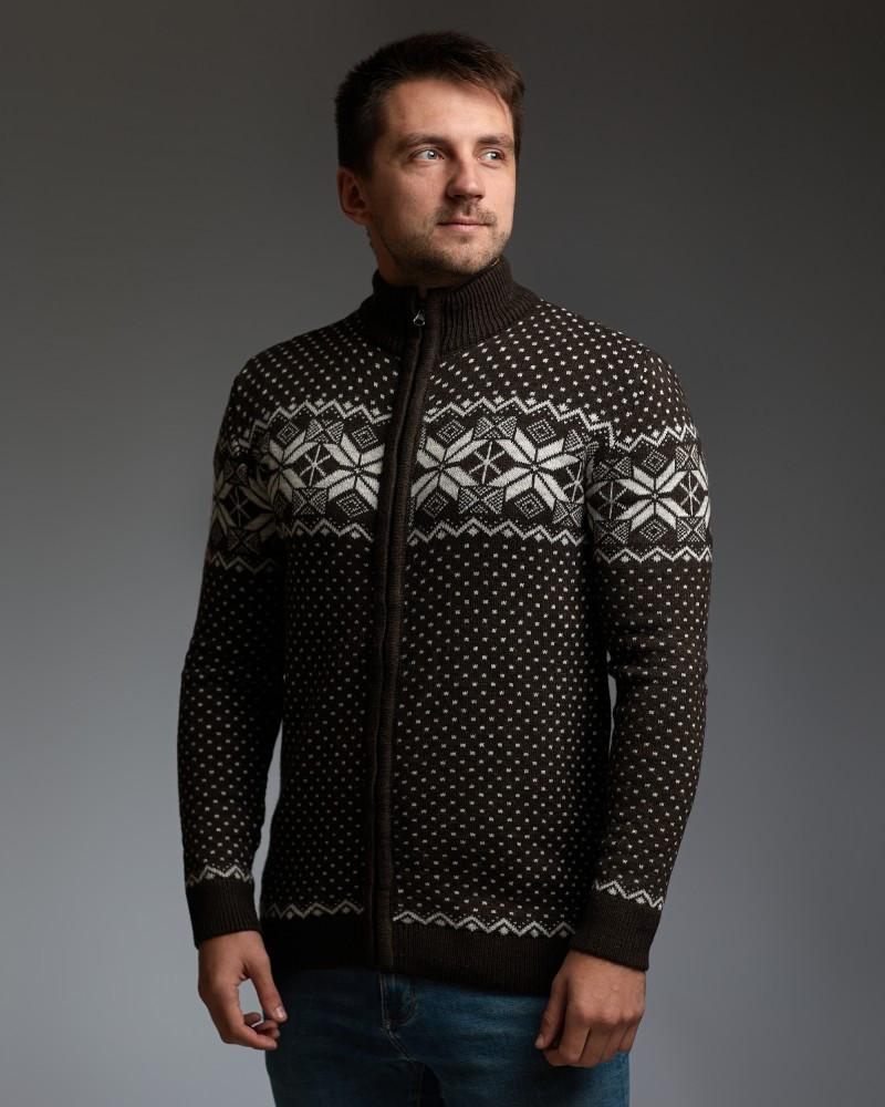 Коричневий чоловічий светр на блискавці з класичним орнаментом