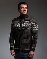 Коричневий чоловічий светр на блискавці з класичним орнаментом, фото 1