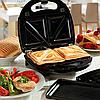 Уценка! Сендвичница 4 в 1 DOMOTEC MS-7704 бутербродница / вафельница / сендвичница / гриль / орешки, фото 9