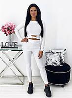 Женский белый фитнес костюм (лосины и топ)