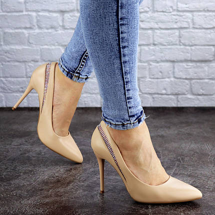 Жіночі туфлі човники на шпильці Fashion Shiro 2073 38 розмір 24,5 см Бежевий, фото 2