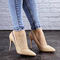Жіночі туфлі човники на шпильці Fashion Shiro 2073 38 розмір 24,5 см Бежевий, фото 3