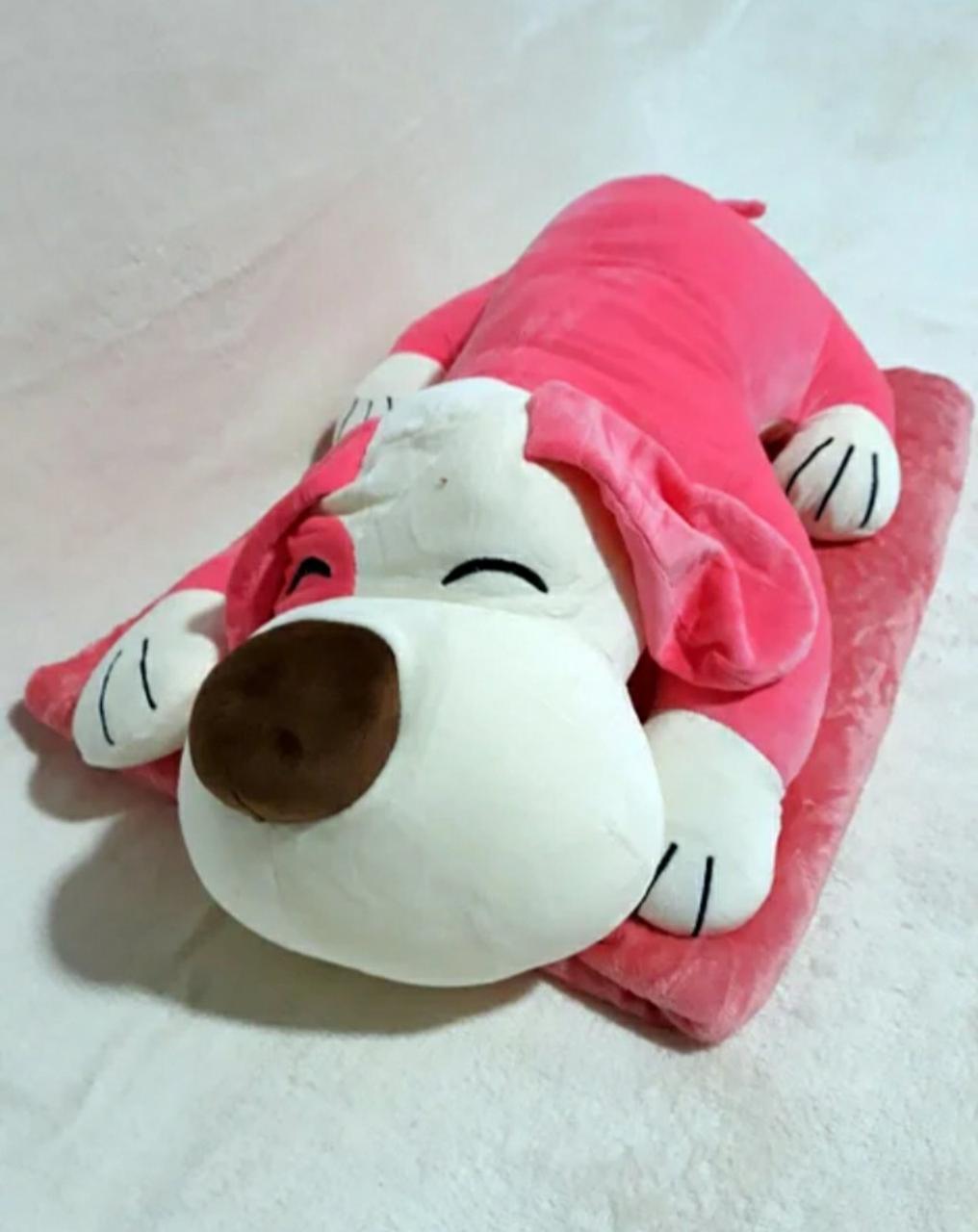 Плед - мягкая игрушка 3 в 1 (Собака розовая)