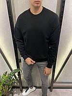 Мужской свитшот черный оверсайз oversize демисезонный двунитка Турция