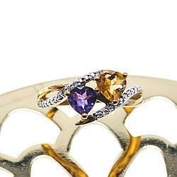 Золотое кольцо 10К (417 проба) с Аметистом и Гелиодором