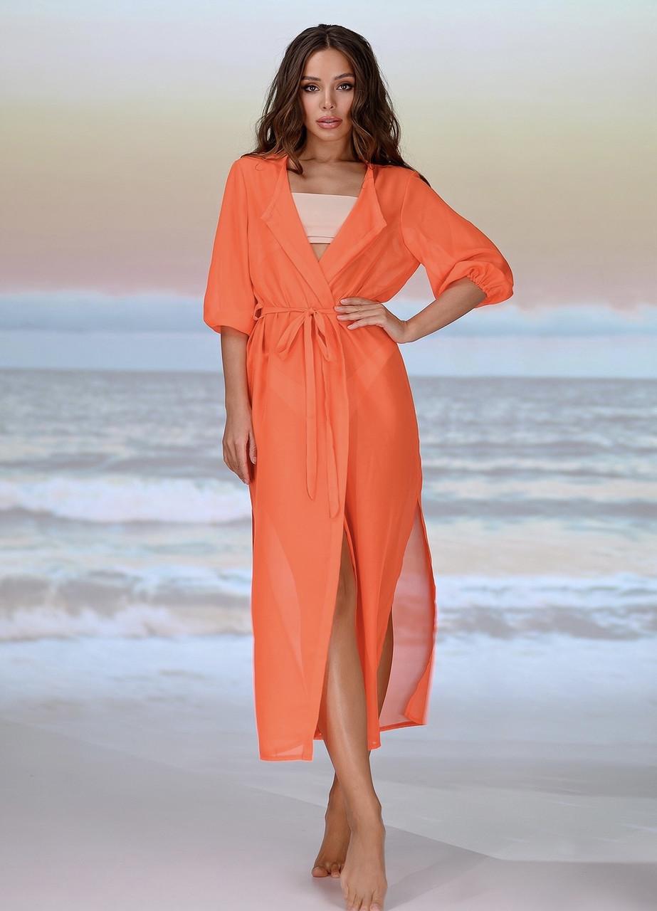Длинная пляжная туника . Цвет - оранжевый . Размер универсальный 42-48