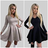 Замшевое платье бэби-долл с длинным рукавом