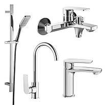KAMPA набор смесителей (4 в 1) для ванны и кухни (05285+10285+55285+6607001)