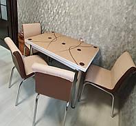 """Розкладний стіл обідній кухонний комплект стіл і стільці 3D малюнок 3д """"Капучіно"""" ДСП скло 60*90 Mobilgen"""