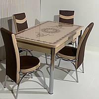 6-058 Стол раскладной из стекла и 6 стульев