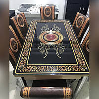 6-048 Стол раскладной из стекла и 6 стульев