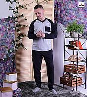 Піжама чоловіча трикотажна тепла синя кофта зі штанами 44-60р.