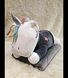 Плед - мягкая игрушка 3 в 1 (Единорог в кофточке серый), фото 2