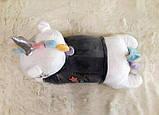 Плед - мягкая игрушка 3 в 1 (Единорог в кофточке серый), фото 4