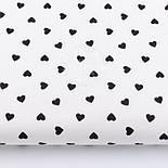Лоскут ткани с чёрными редкими сердечками 10 мм на белом фоне (№2989а), размер 50*53 см, фото 2
