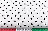Лоскут ткани с чёрными редкими сердечками 10 мм на белом фоне (№2989а), размер 50*53 см, фото 3