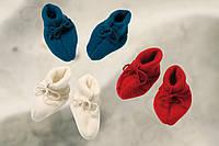 Тапочки для новорожденного, шерсть (флис), завязки по бокам