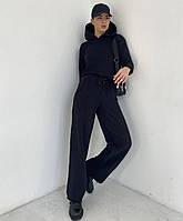Женский чёрный спортивный прогулочный костюм