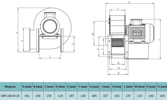 Габариты центробежного вентилятора Bahcivan OBR 260 M-2K. Купить в Украине.