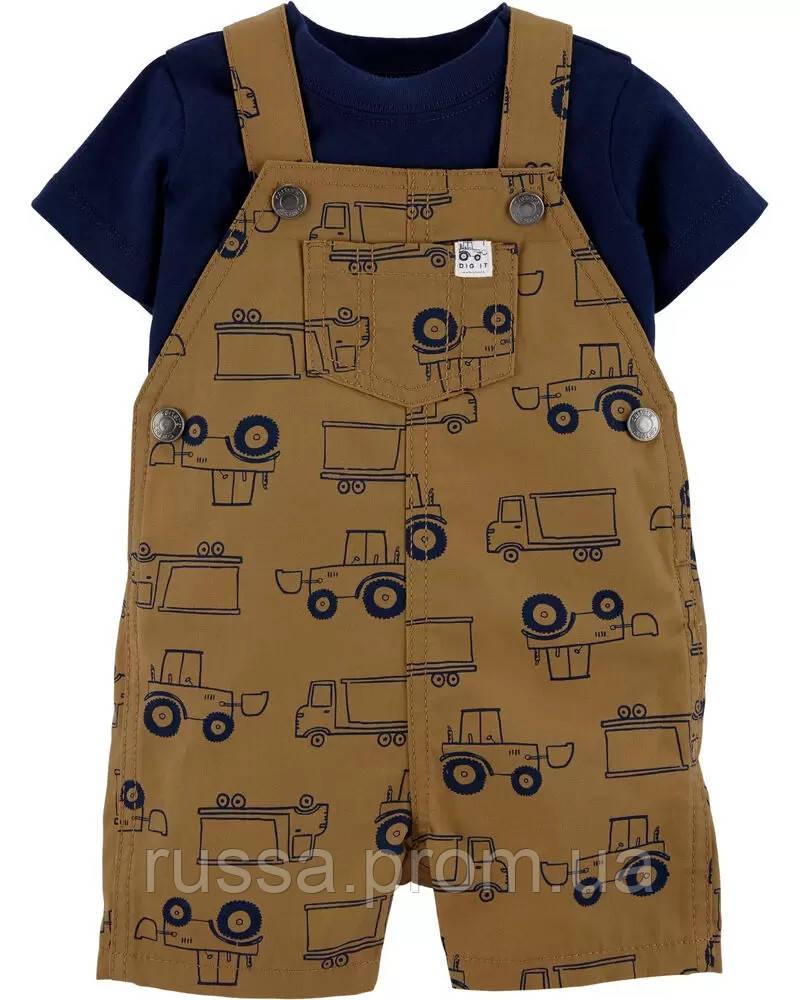 Летний костюм - футболка и полукомбинезон Грузовики Картерс для мальчика