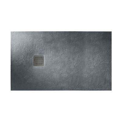 TERRAN піддон 100*80*2,6 см, з мистецтв. каменю STONEX, прямокутний, з трапом і сифоном, графіт