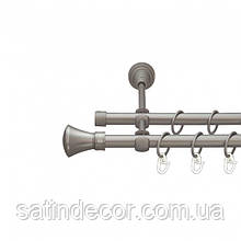 Карниз для штор металлический ЛЮКСОР двойной 16+16 мм 1.6м Сатин никель