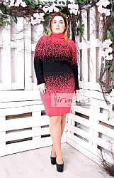 Платье Джунгли батал корал+черный