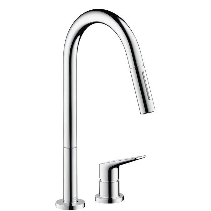 Axor Citterio M Смеситель для кухни, на 2 отверстия, с выдвижным душем