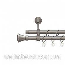 Карниз для штор металлический ЛЮКСОР двойной 16+16мм 2.0м Сатин никель