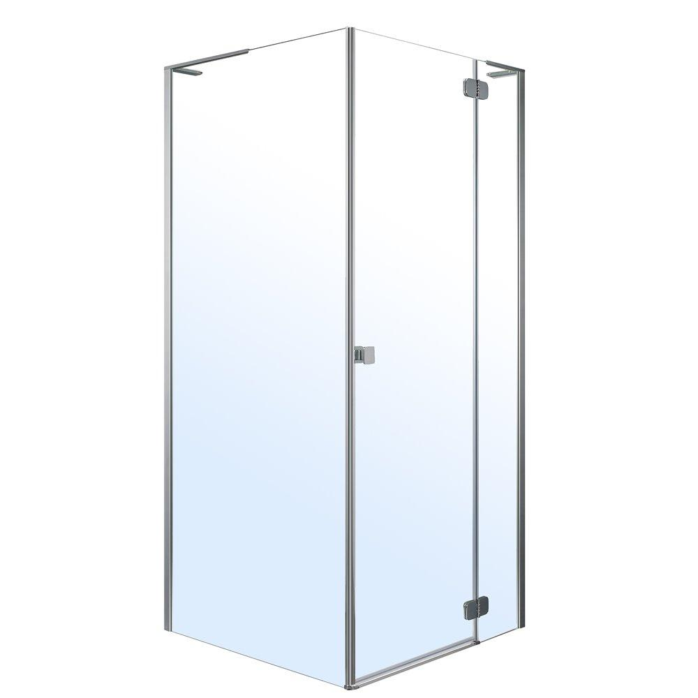 BENITA Right душевая кабина 90*90*195см, квадратная (стекла + двери), распашная, хром, прозрачное