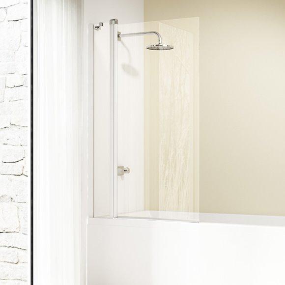 DESIGN ELEGANCE штора 2-х панельна на ванну 96,5*150см (проф білий, скло прозр Antiplaque)