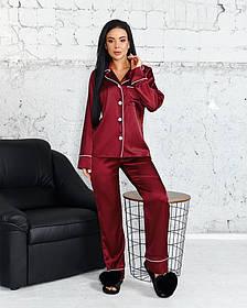 Жіночий шовковий костюм-піжама 50-641