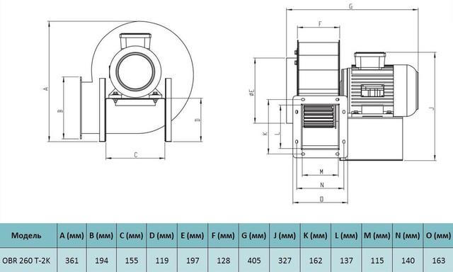 Габариты трехфазного центробежного вентилятора Bahcivan OBR 260 T-2K. Купить в Украине.