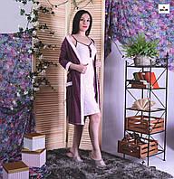 Женский комплект халат на запах с ночной для беременных и кормящих мам бордовый р.42-54