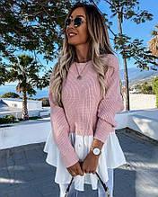 Женская трендовая  блузка Ткань: вязка+ турецкий коттон пудра, беж, ментол 42-46 , 48-52