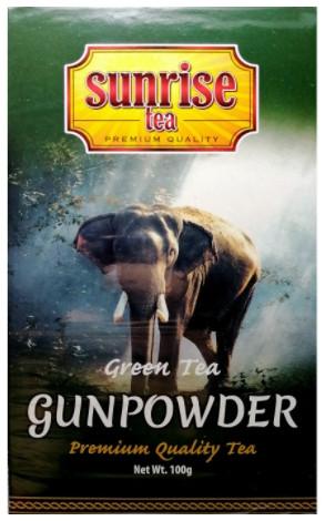 Чай зелений крупнолистовий ароматизований Sunrise Gunpowder 100 грам