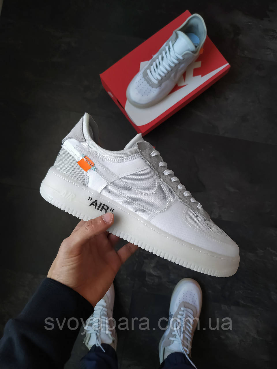 Мужские кроссовки Nike Air Force Just Do ItxOff White белые