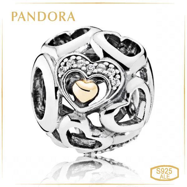 "Пандора Подвеска-шарм ""Романтичное сердце"" Позолота Pandora 792108CZ_p"