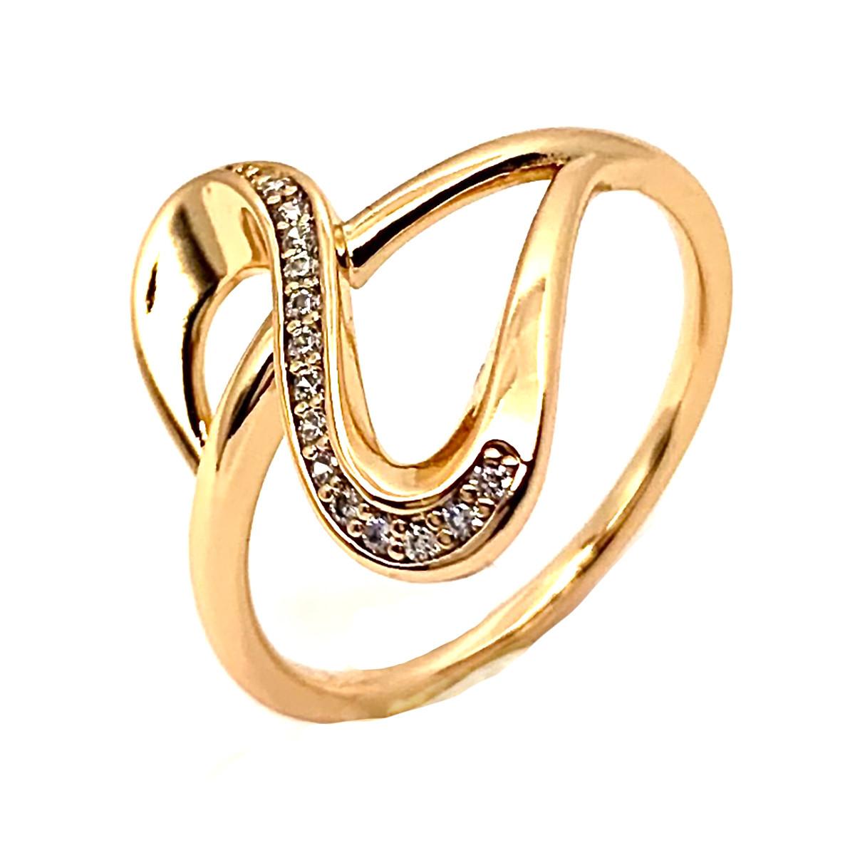 Кольцо Xuping из медицинского золота, белые фианиты, позолота 18K, 12036