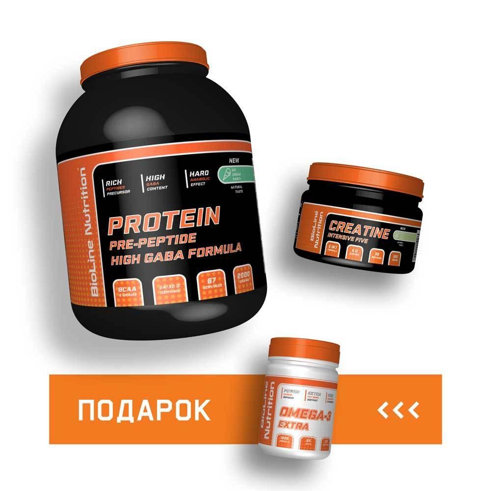 Спортивное питание: Протеин + Креатин + Омега-3 сухая масса BioLine Nutrition | 30 дней