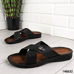 """Шлепанцы мужские, черные """"Lages"""" эко кожа, шлепки мужские, тапочки мужские, вьетнамки мужские, обувь летняя"""